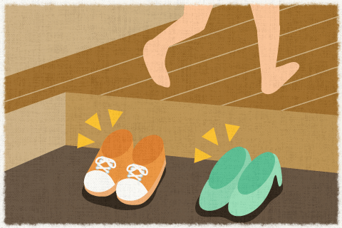 日本では、家に入る時靴を脱ぐのが習慣です。の英作文