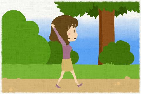 맑은 날에는 공원을 한바퀴 산책하는 것이 어머니의 취미입니다.의 영작문