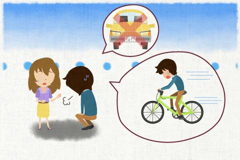 車が壊れていたので、自転車で目的地まで行かざるを得なかった。の英作文