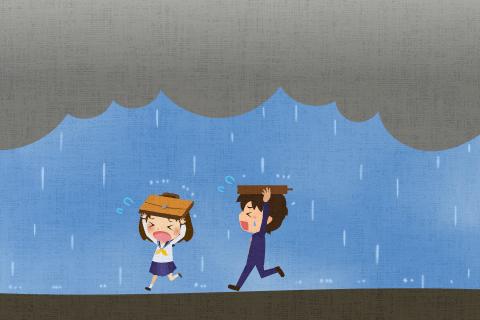 私たちは家に帰る途中、にわか雨にあいました。の英作文