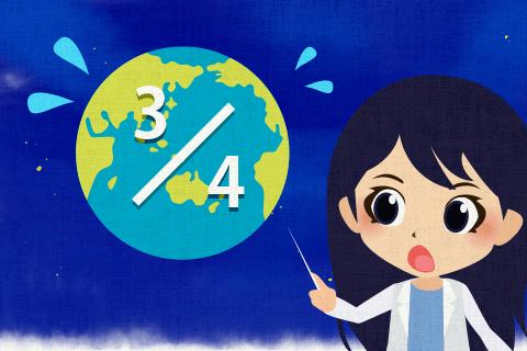 私たちは地球の約4分の3が水で覆われていることを忘れがちだ。の英作文