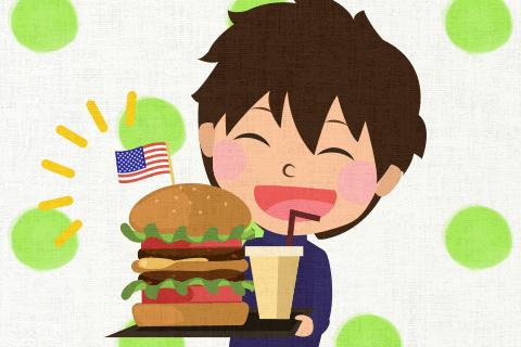 켄 (Ken)는 곧 미국의 음식에 익숙해졌다.의 영작문