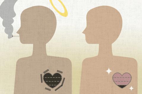 喫煙者は非喫煙者の4倍の確率で心臓発作で命を失う傾向にある。の英作文