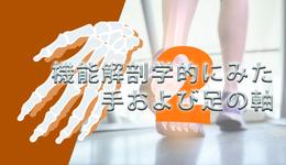 【運動学とその臨床】機能解剖学的にみた手および足の軸  山﨑 敦先生