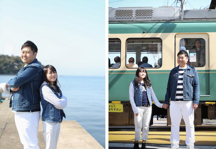 江ノ島でデートする男女