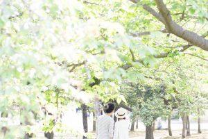 森林_散歩するカップル後姿2