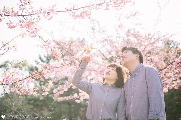 桜を見るカップル