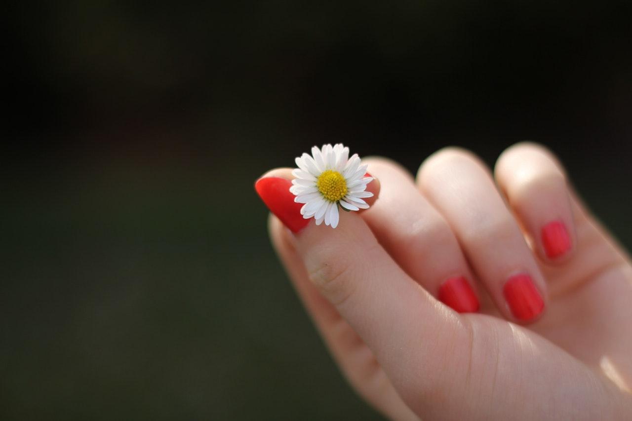 花を手に悩む女子