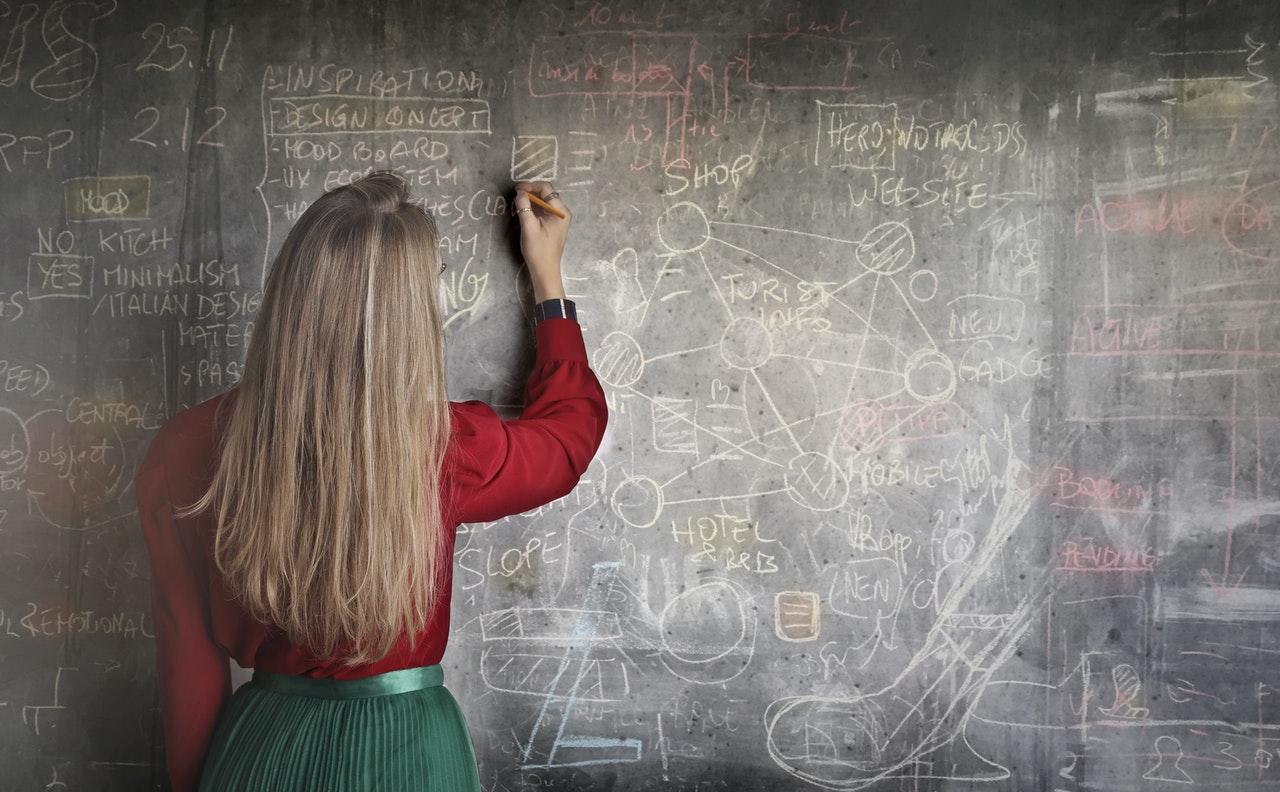 黒板に文字を描く女性
