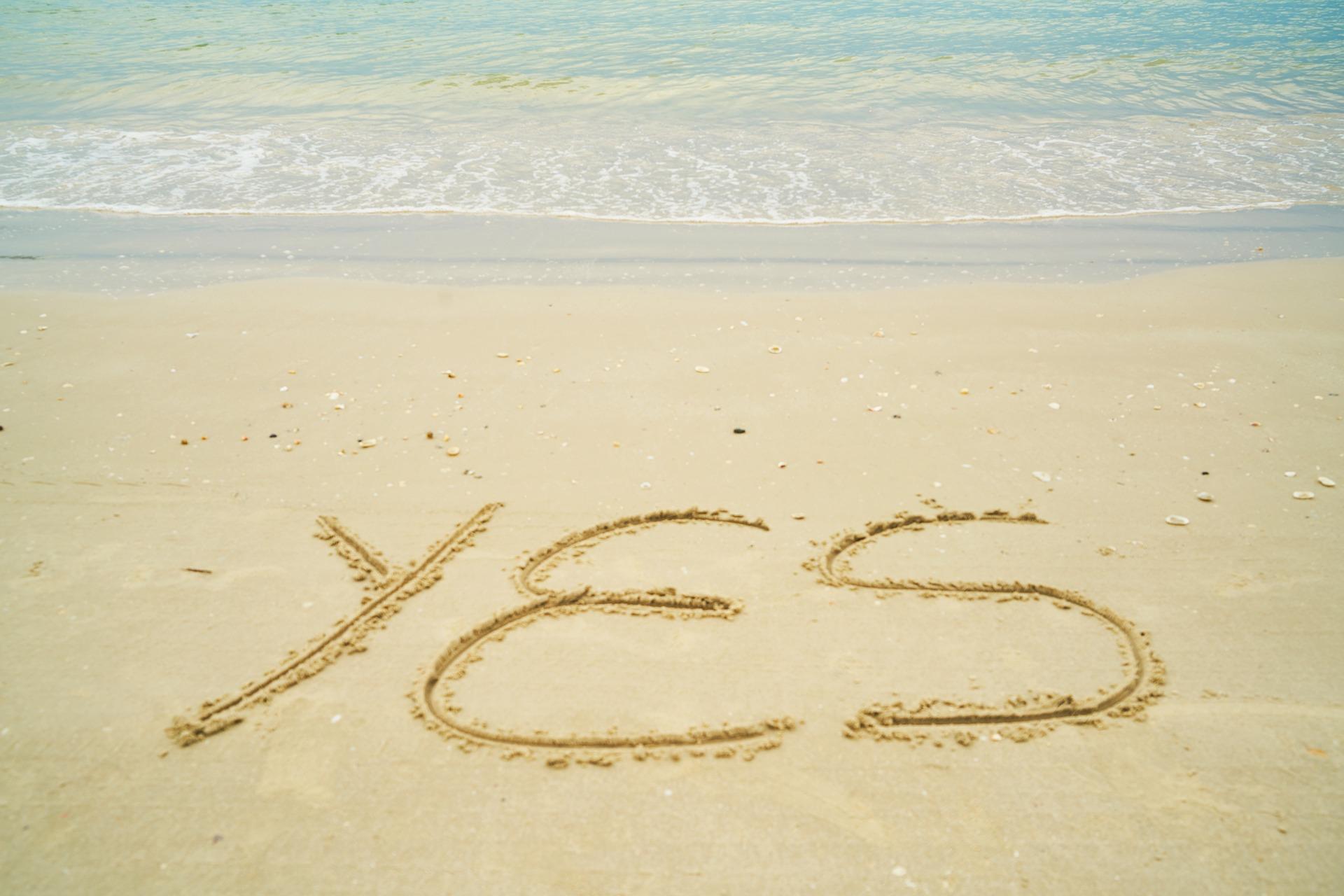 yesをイメージして海