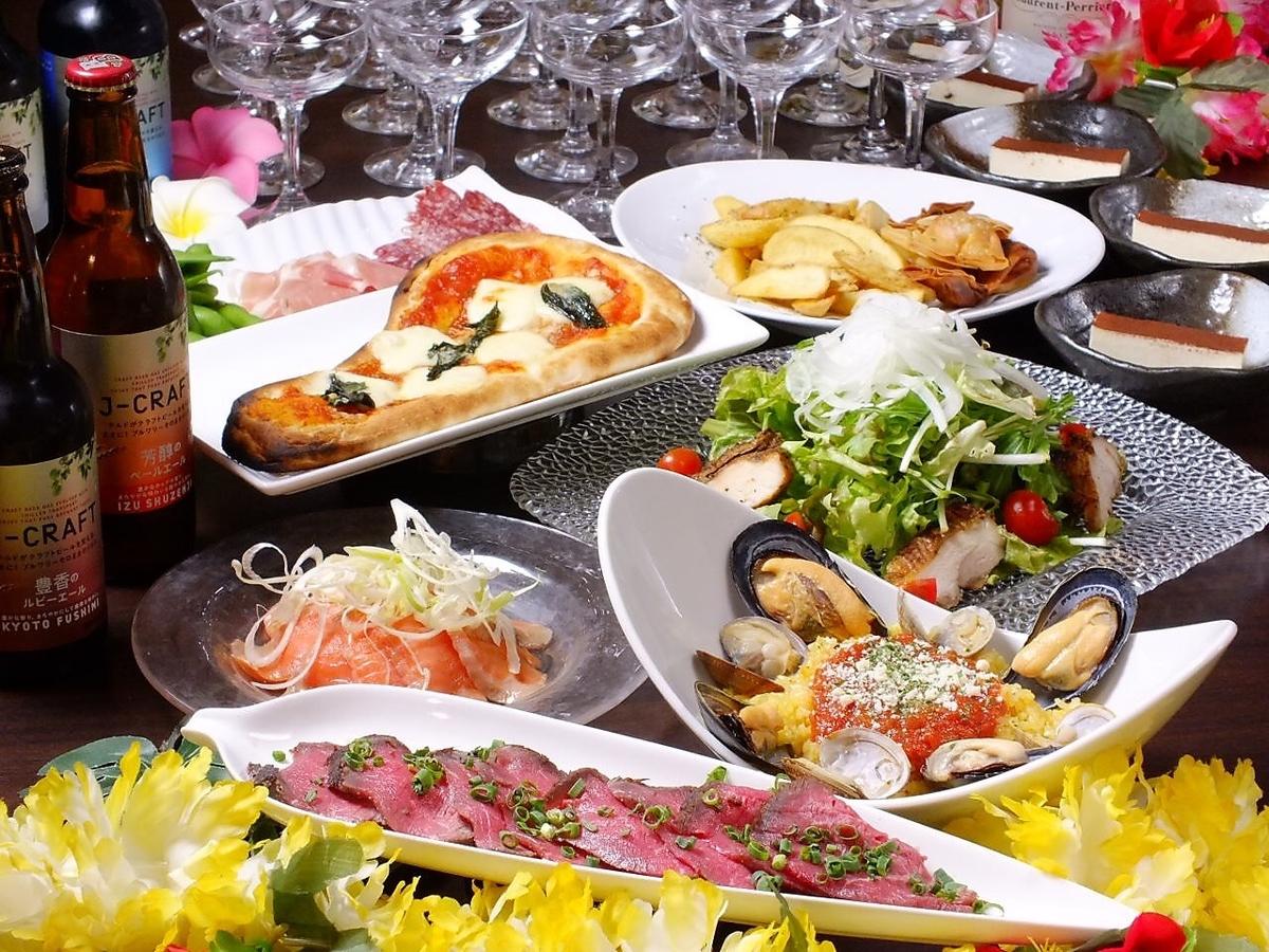 2小時全友暢飲食物全部6個菜[平日(週日至週四)有限公司女子會套餐]3500日元(不含稅)♪