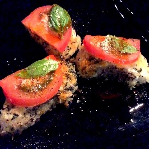 地方甲魚和蘇吃烤羅勒番茄