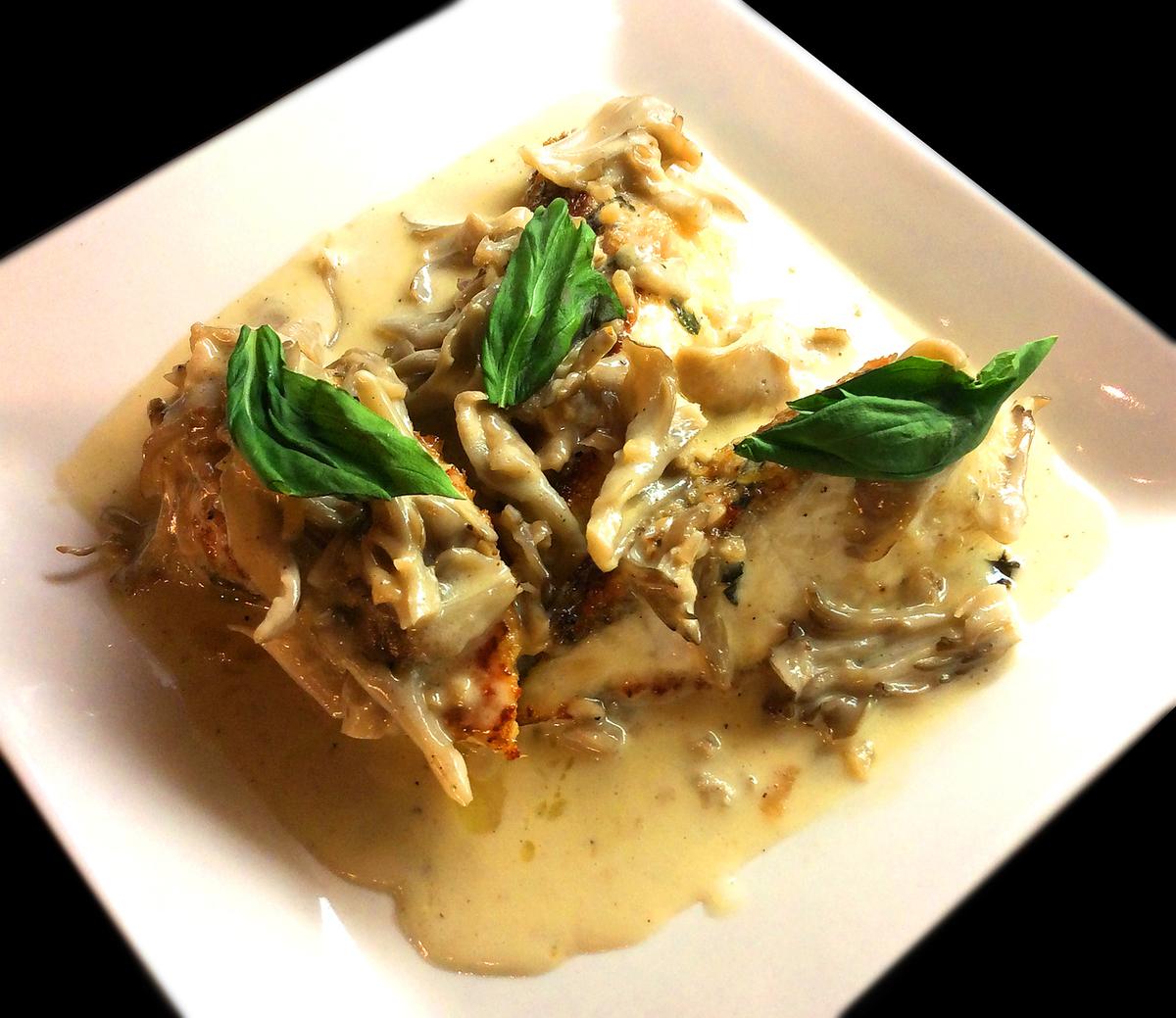 红鲷鱼的油条蘑菇奶油酱