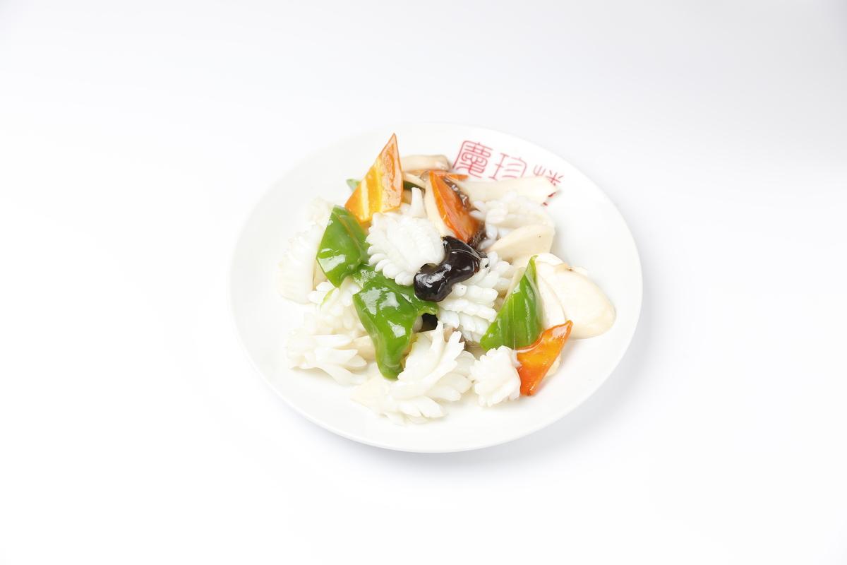 Three seafood stir-fry
