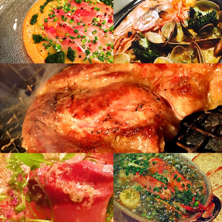 ◆小鉢◆カルパッチョ◆アヒージョ◆魚◆二種ステーキ◆パエリア◆甘味 2H飲放付4500円