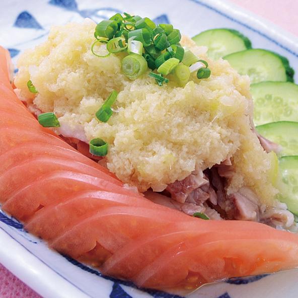 岡山県産若鶏の葱生姜ソースがけ