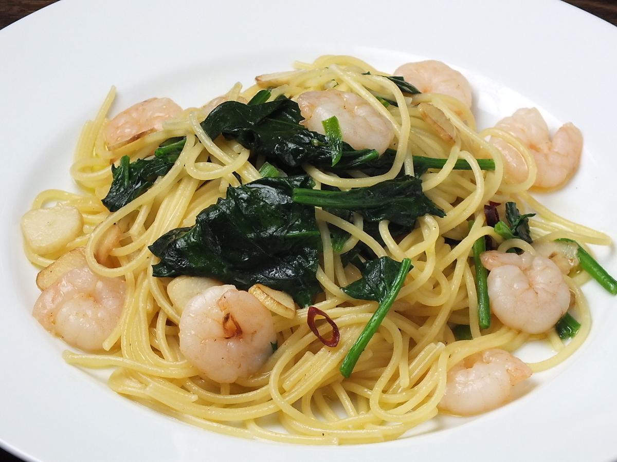 海老と野菜のペペロンチーノ