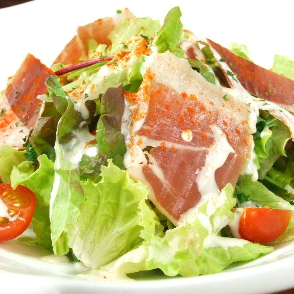 Caesar salad of raw ham Jamon Serrano