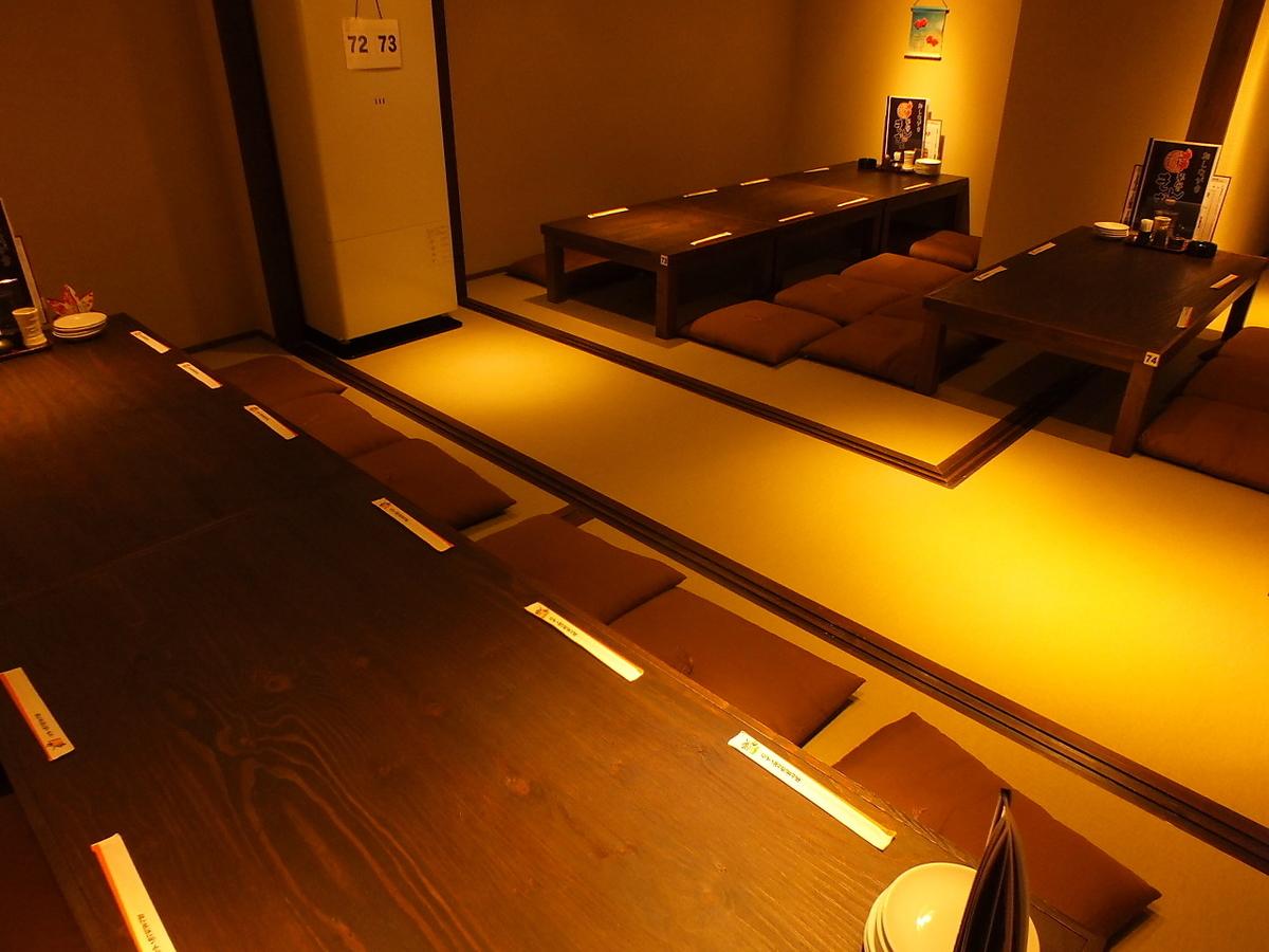 【2階】2階は全席完全個室!席のタイプも2名様用から最大22名様まで収容可能。3タイプの席タイプをご用意しているので、色々なシーン・人数・ご要望に応えられます☆