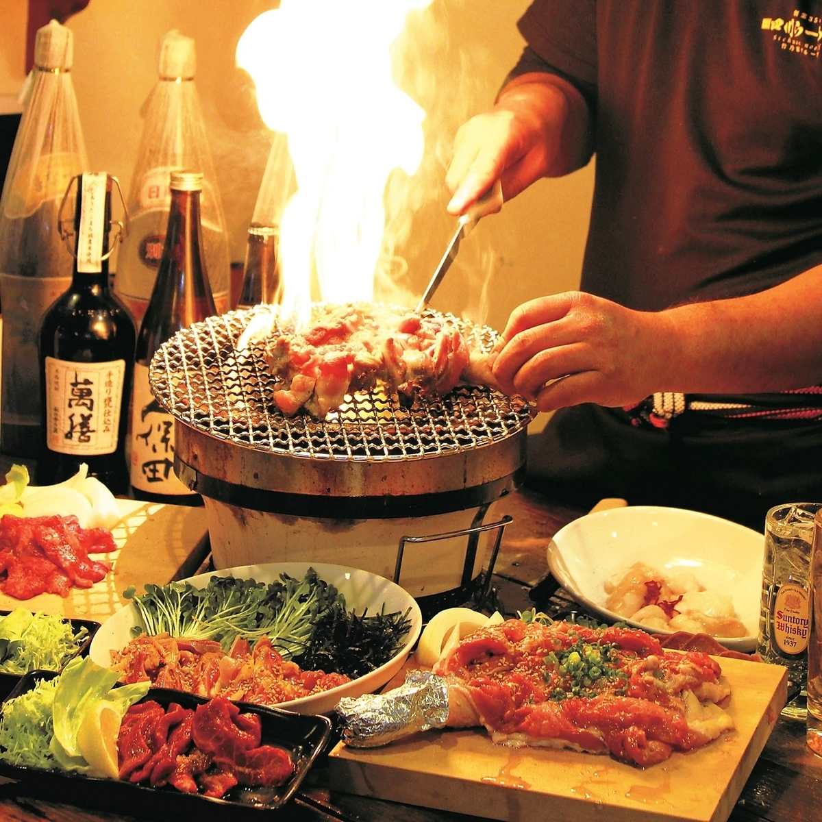 [Charcoal stove Grilled & chicken sashimi course] 4500 yen → 3500 yen with a 2-hour all-you-can-drink (excluding tax) assault / lever stab of chicken ... 12 dishes