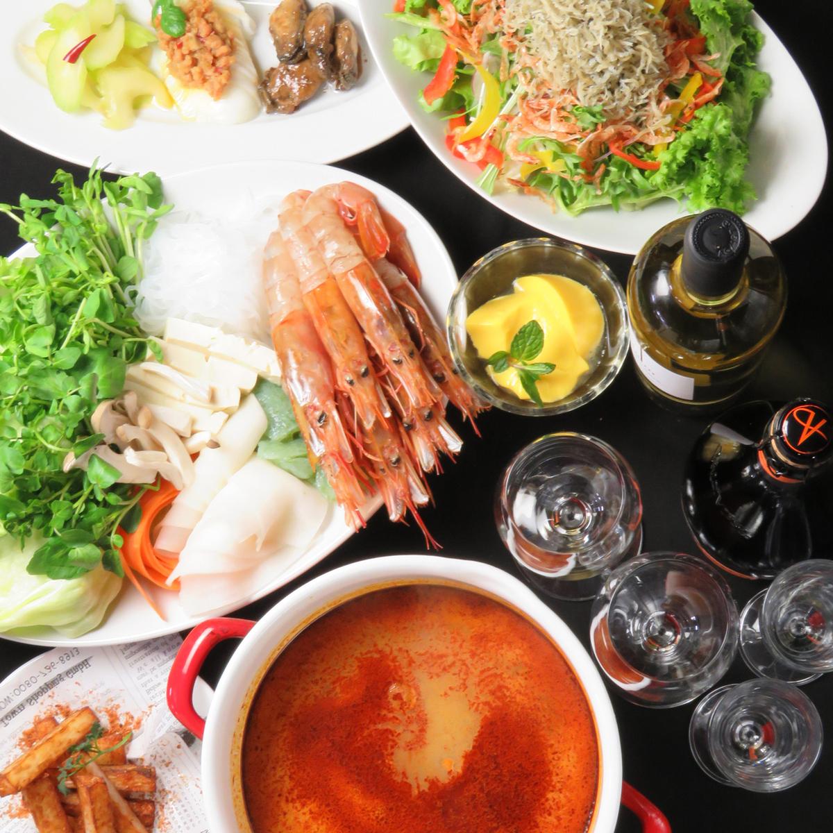 大海老と旬野菜のしゃぶしゃぶ歓送迎会コース選べる3種のスープ 飲み放題120分付き 4500円
