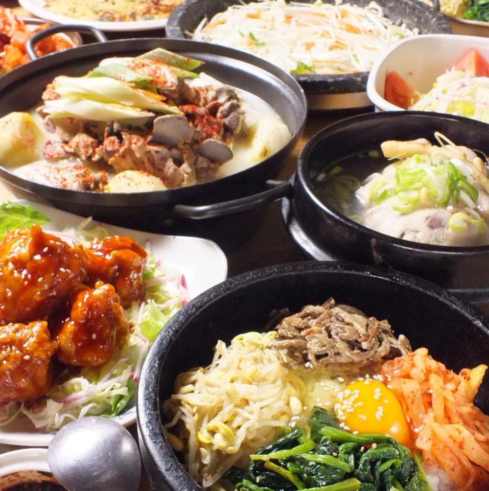 【多】コース チヂミ、石焼ビビンバ他 人気韓国料理 全10品 3000円→2500円 (お料理のみ)