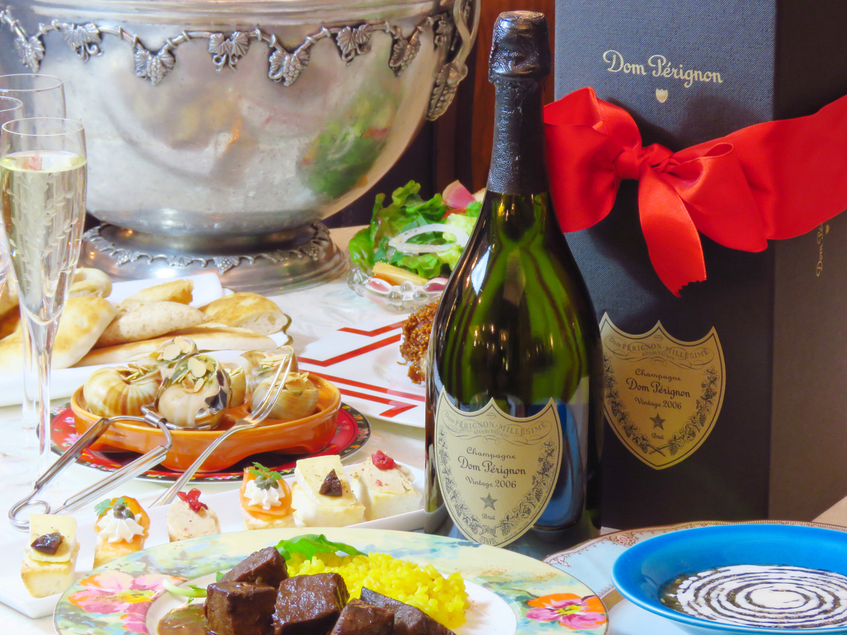 "To the secretary Champagne """" Domperignon ""gifts buffet course plan"