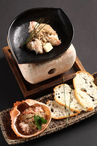 «Charcoal stove» crab miso butter