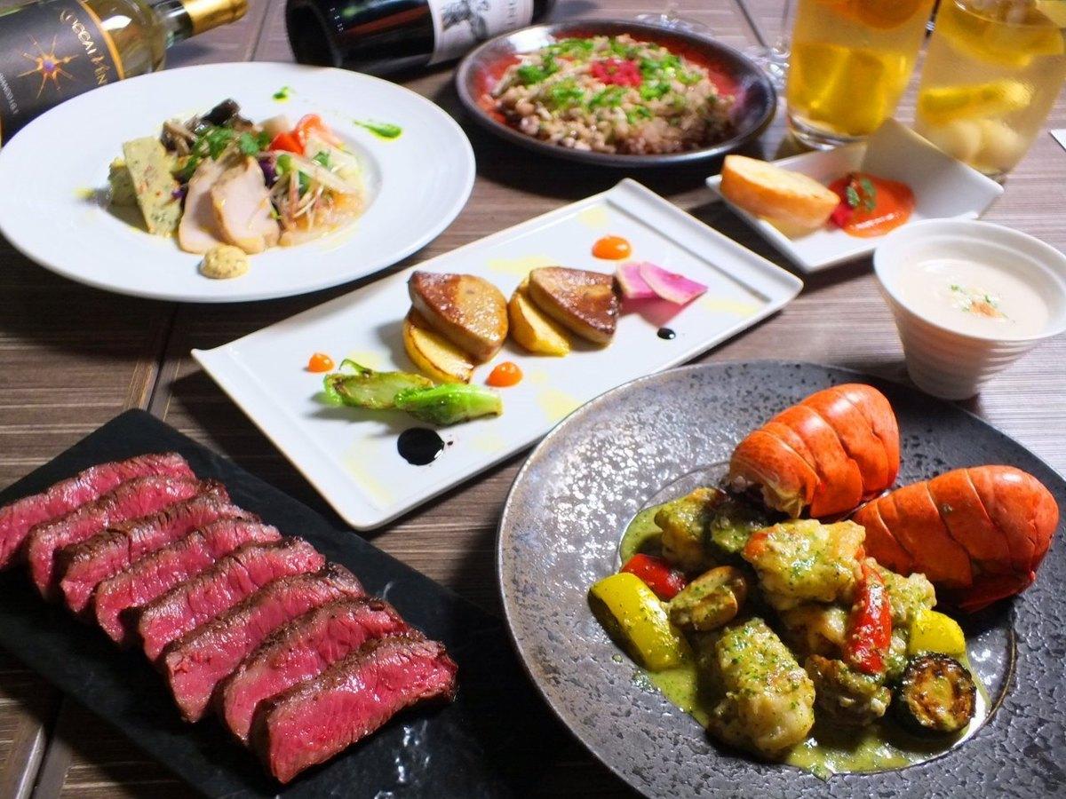 15菜餚至120分鐘消耗吃精心挑選的原料和老年牛話題[飲用發行]與★6200日元的(含稅)