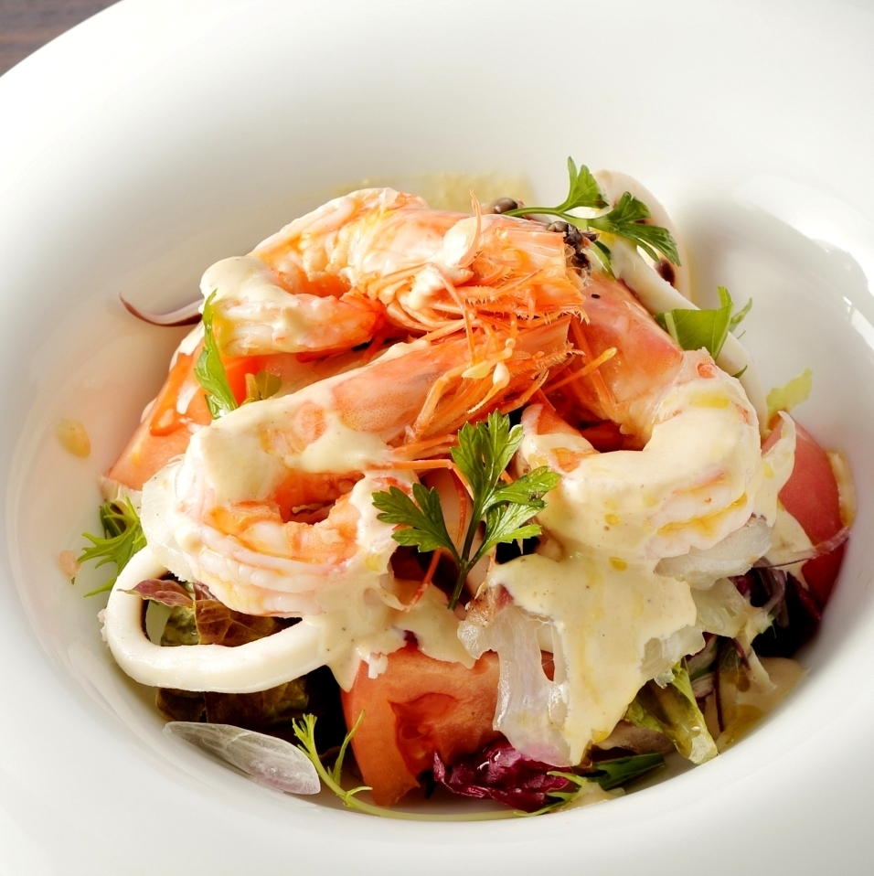 Seafood salad of angel of shrimp and seafood