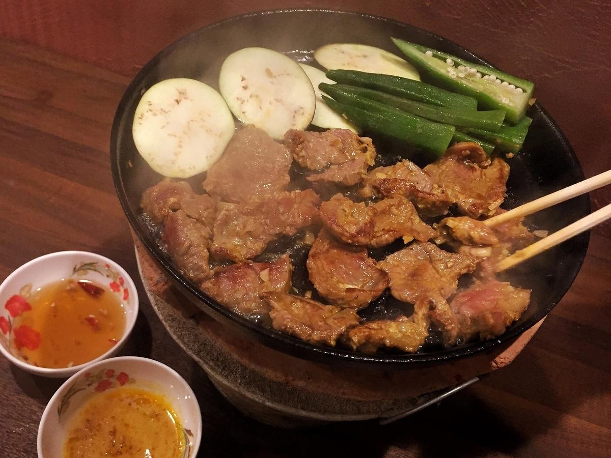 Roast goat meat