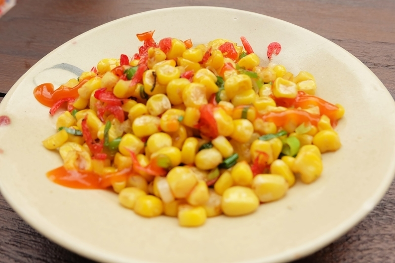 Sakuraebi和玉米炒Negichiri