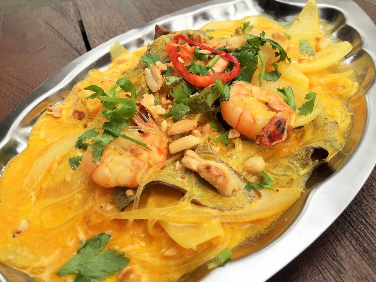 椰子虾炒粉条