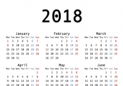 2018年カレンダーの画像です