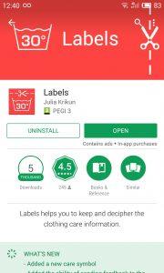 Labels Google Play shop screenshot