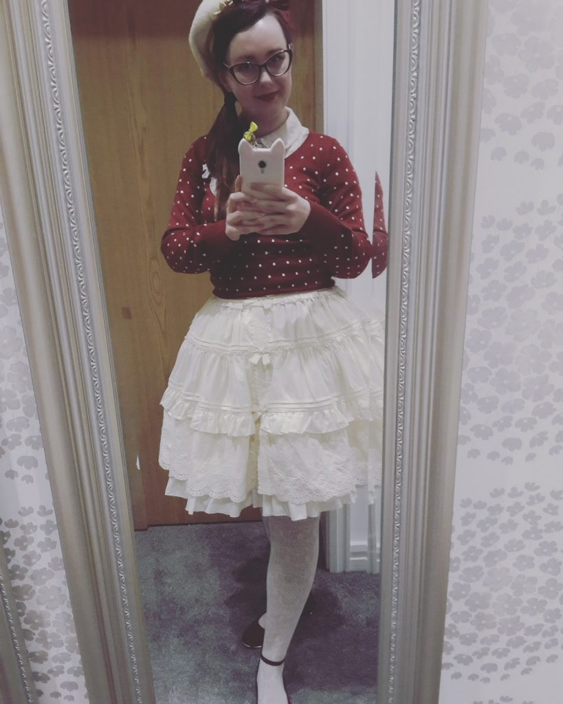 skirt and a cardigan