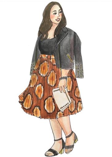 海外ぽっちゃりさんに学ぶ コーデのコツ 柄スカート