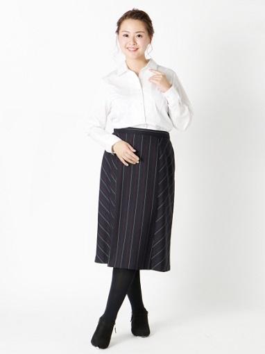 ストライプ切替スカート ぽっちゃりさんの痩せ見えコーデのコツ