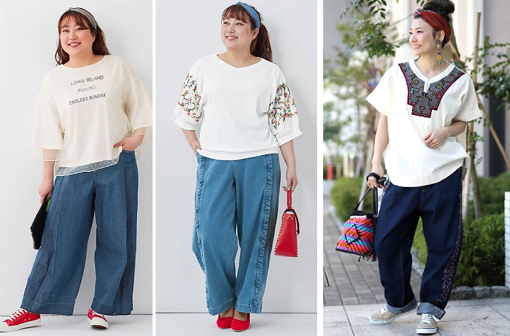 バーベキュー・BBQコーデ 汗対策に! ゆったりTシャツ + ワイドパンツ