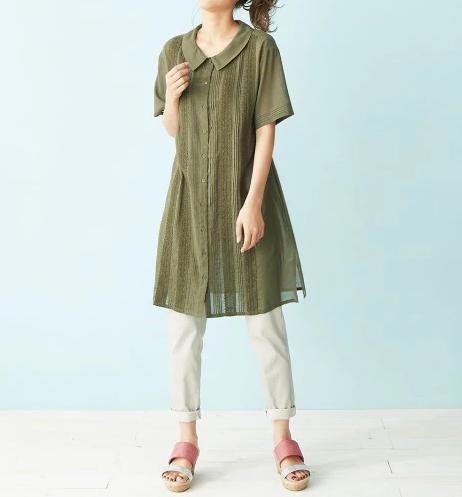 落ち着きある色を選べばキュートな襟デザインも心地よい ぽっちゃりさんにオススメ