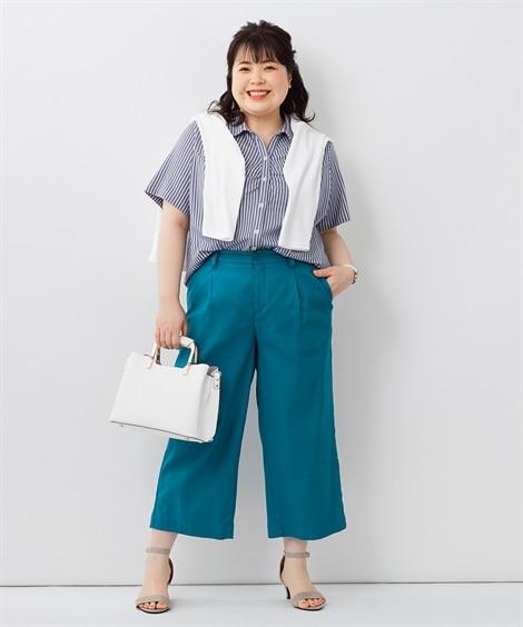 短めなワイドパンツとシャツですっきりIラインコーデ_01 ぽっちゃりさんにオススメ