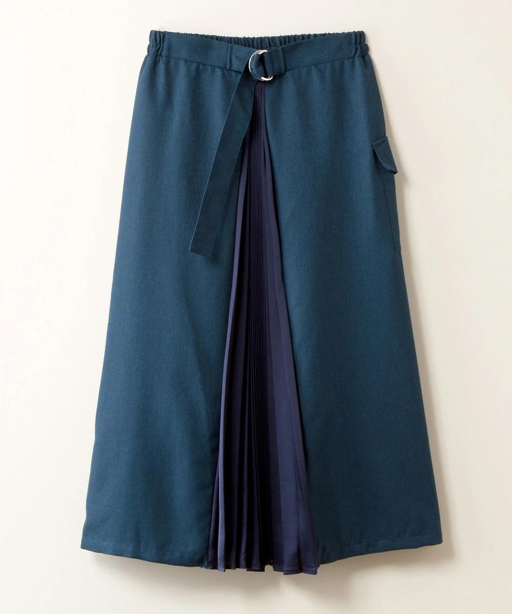 オフィスシーンに合わせるロングスカートなら、ウエストマーク入りのデザイン 大人女子ぽっちゃりさんのロングスカートコーデ