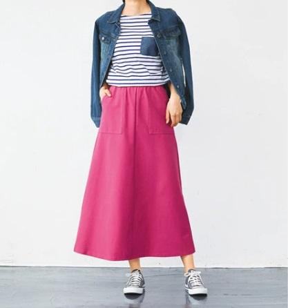 ボーダーTシャツには明るめカラーのボトムスを ぽっちゃりさんにおすすめのTシャツコーデのコツ