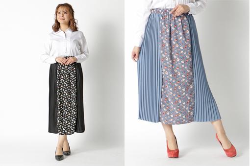 花柄×プルーツ切り替えスカート ぽっちゃりさんの19年トレンド上手な洋服の選び方・着こなしのコツ・ポイント