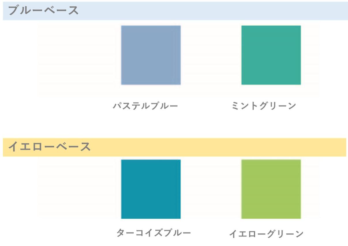 ブルーベースの方にはパステルブルーやミントグリーン、イエローベースの方にはターコイズブルーやイエローグリーン系がオススメです。