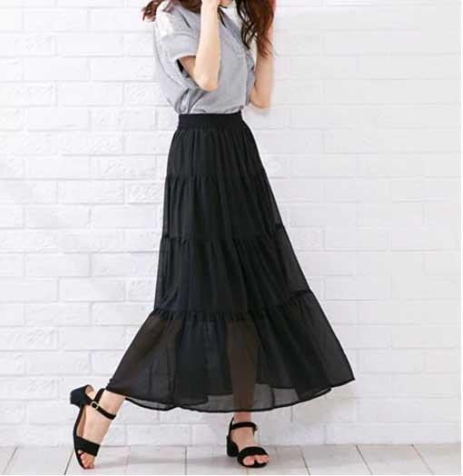 ティアードスカート ぽっちゃりさんのクールコーデ・ファッション