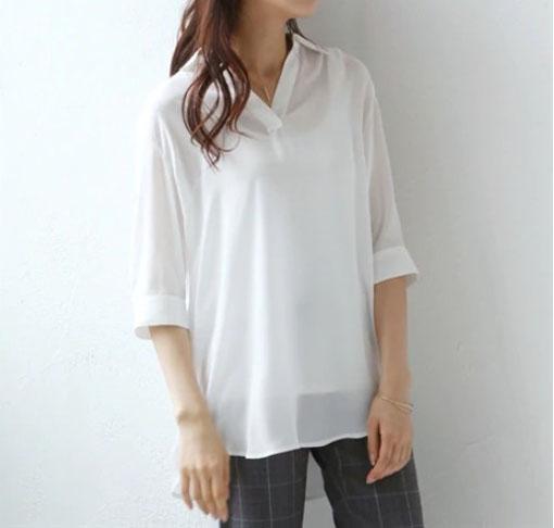 7分袖ロング丈スキッパーシャツ ぽっちゃりさんのクールコーデ・ファッション