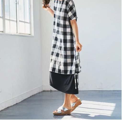 ロング丈ワンピースとミュールのコーデ ぽっちゃりさんのクールコーデ・ファッション