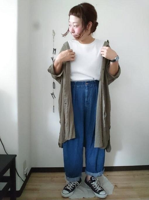 アウター代わりにしたシャツワンピースでシンプルな重ね着コーデに01 ぽっちゃり女子の楽ちんワンピースレイヤードスタイル(晩夏・秋コーデ)