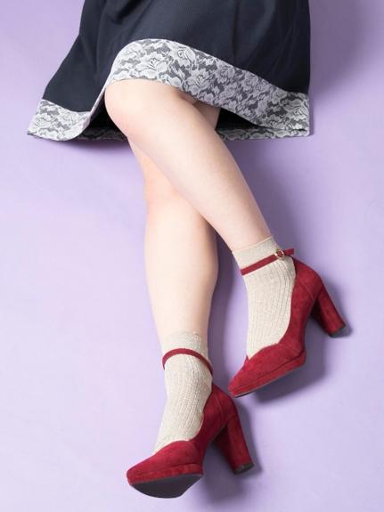 ラメ入りのプレーンソックス ぽっちゃり大人女子の靴下コーデ
